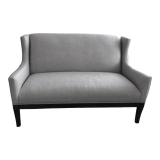 Modern Upholstered Light Blue Loveseat Settee For Sale
