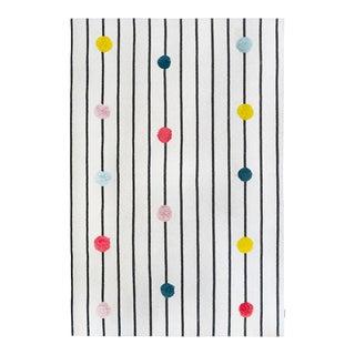 Knitted Multi Color Pom Pom Rug With Black Stripes - 4' X 6' For Sale
