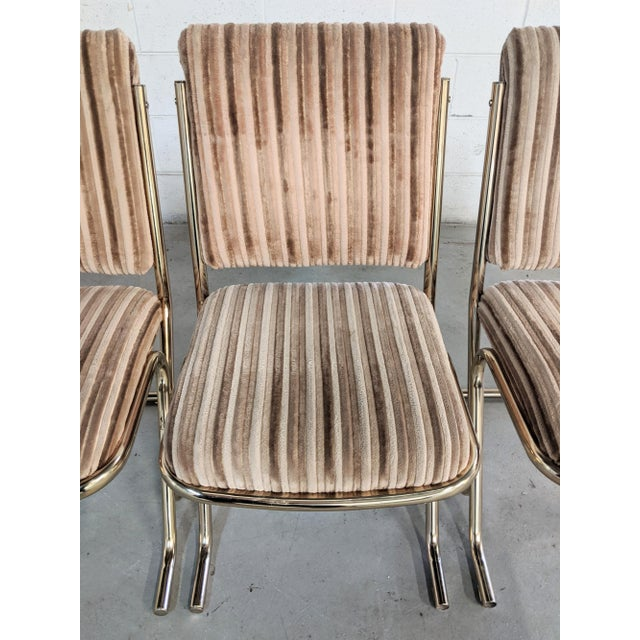 Tan 1970s Chromcraft Velvet & Brass Dining Chairs- Set of 4 For Sale - Image 8 of 12