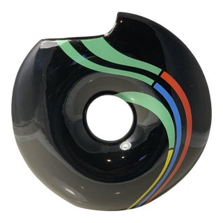 Mid Century Toyo Velocity Circular Black Vase With Multi-Color Stripes For Sale