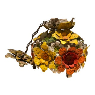 1950s Yellow and Orange Mexican Tin Floral Chandelier For Sale