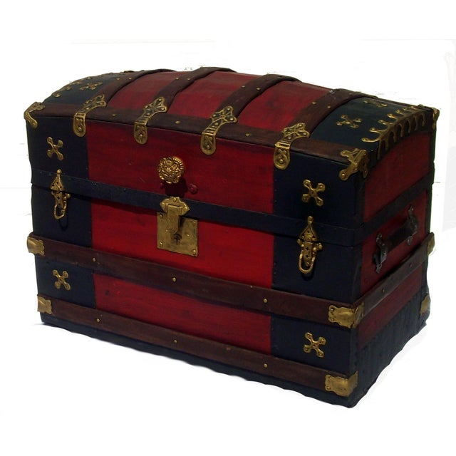 Fancy Antique Barrel Top Trunk - Image 1 of 4