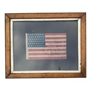 1912 Gauze Vintage Staggered 48 Star American Flag in Vintage Oak Frame For Sale