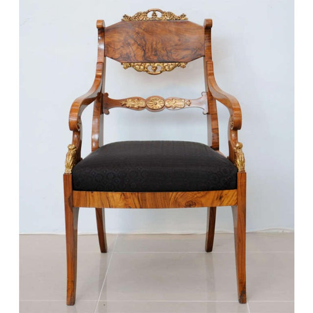 Neoclassical Pair of Russian Neoclassic Circassian Walnut and Parcel-Gilt Chairs For Sale - Image 3 of 9