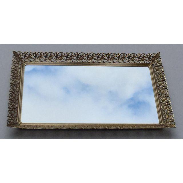 Rectangular Filigree Detail Vanity Mirrored Tray - Image 2 of 5