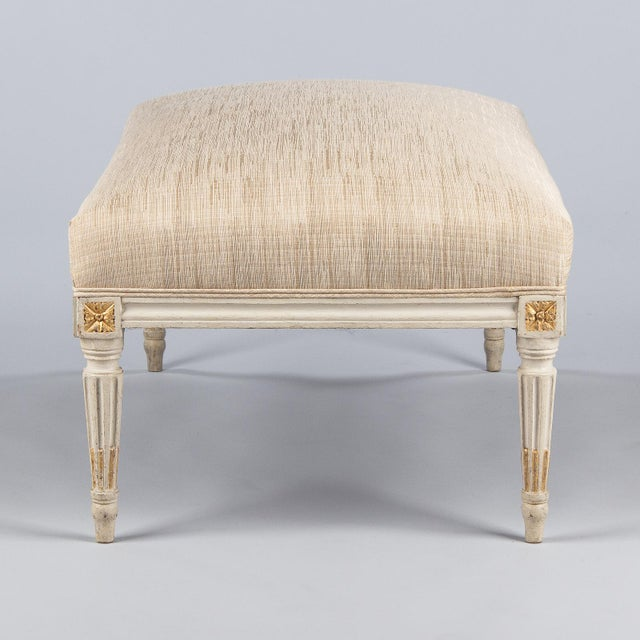 Louis XVI Early 20th Century Vintage Louis XVI Style Upholstered Painted Ottoman For Sale - Image 3 of 12