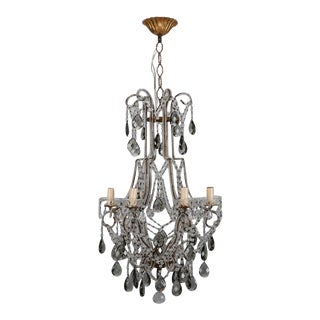 French Six Light All Crystal Beaded Chandelier With Smoke Color Drops