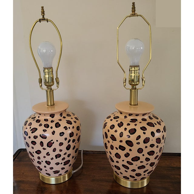 Vintage Leopard Painted Table Lamps - a Pair For Sale In New York - Image 6 of 6