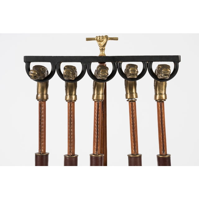 Jacques Adnet Rare Fireplace Tools by Jacques Adnet For Sale - Image 4 of 10