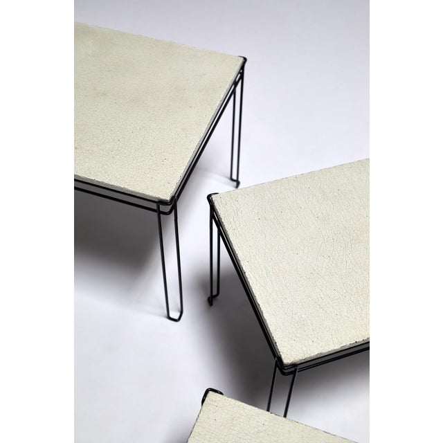 1960s Featured in The 2020 San Francisco Decorator Showcase — 1960s Mid-Century Modern White Plaster & Black Wire Nesting Tables - Set of 3 For Sale - Image 5 of 7