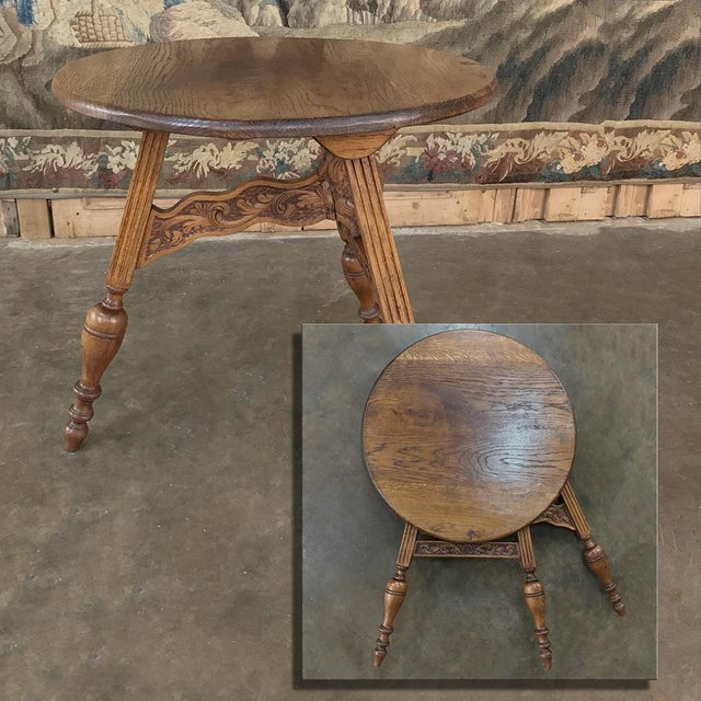19th Century Round Tripod Folding End Table is an ancient design, executed in this case in solid old-growth oak, and...