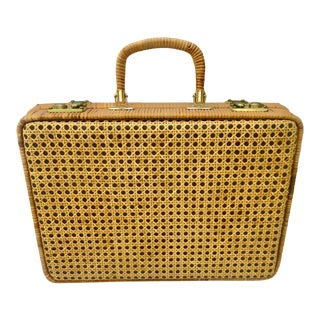 1960s Boho Chic Tan Cane and Wicker Suitcase