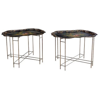Pair of English Faux Bamboo Toleware Tray Tables For Sale