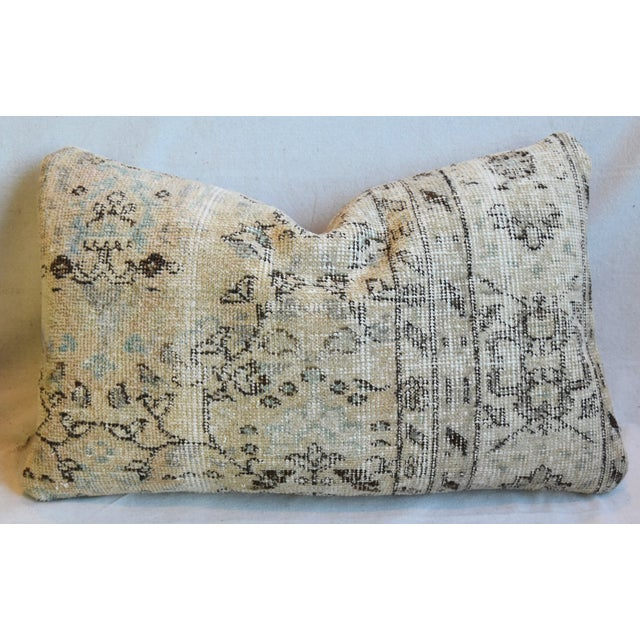 "Early 21st Century Antique Soumak Carpet Wool Feather/Down Pillows 26"" X 16"" - Pair For Sale - Image 5 of 13"