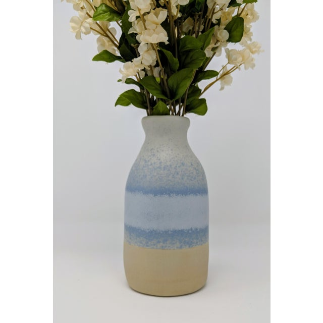 Ceramic Blue and White Gradient Vase For Sale - Image 7 of 12