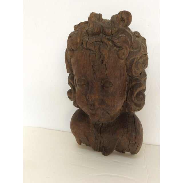 Flemish Carved Oak Cherub Head, 17th Century For Sale - Image 5 of 11