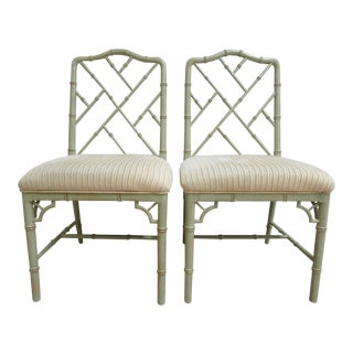 Domain Faux Bamboo Dining Chairs - a Pair For Sale