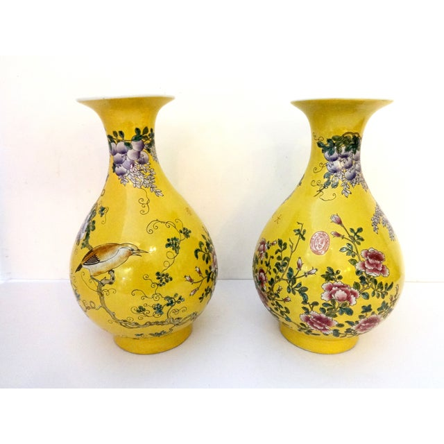 Yellow Famille Jaune Vases- A Pair For Sale - Image 4 of 7