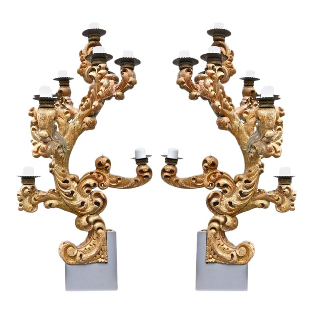 Early 18th Century Roman Italian Giltwood Candelabras - A Pair For Sale
