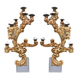 Pair of Monumental Roman 18th Century Italian Giltwood Sconces or Candelabra