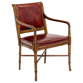 Faux-Bamboo Leather Armchair by Hickory For Sale