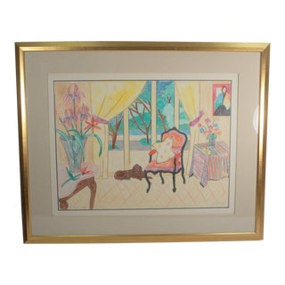 """Expressionist Pastel Drawing on Paper """"A Dog's Life"""" Signed Anita Klebanoff For Sale"""