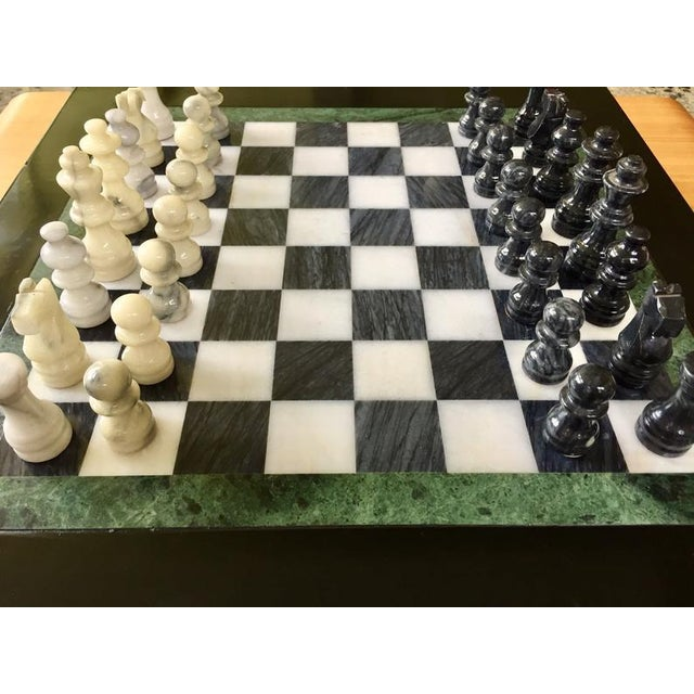 Black Vintage 70's Black Lacquer Box With Drawers and Inlay Marble Chess Board For Sale - Image 8 of 11