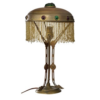 Moroccan Influenced Art Deco Brass and Art Glass Table Lamp With Tassles For Sale