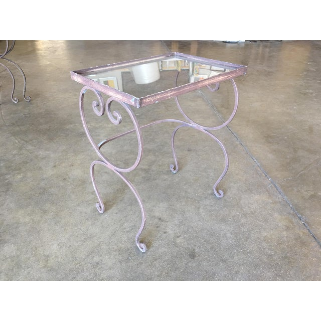 1990s Scrolling Steel Outdoor/Patio Nesting Side Tables W/ Glass Tops - Set of 3 For Sale - Image 5 of 10