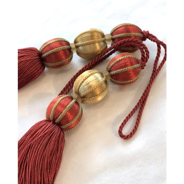 """Red Beaded Key Tassel in Red & Gold - 7.5"""" For Sale - Image 8 of 8"""