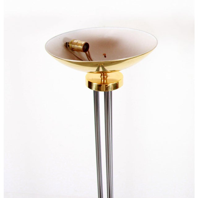 Vintage Hollywood Regency Chrome & Brass Torchiere Floor Lamps - a Pair For Sale In Providence - Image 6 of 11