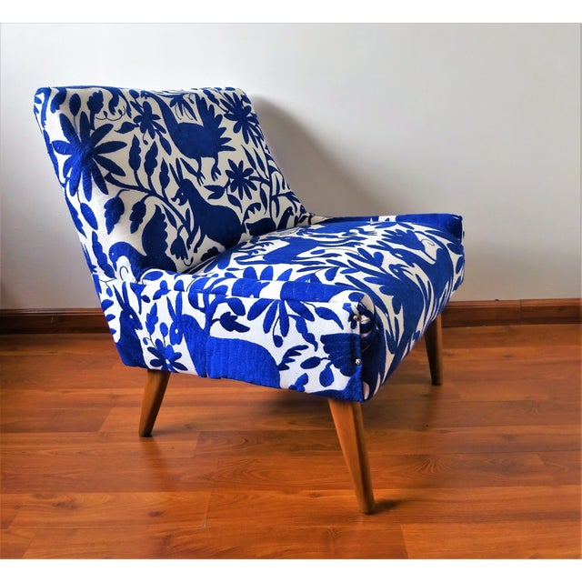 Mid-Century Bohemian Cobalt Blue Otomi Hand Embroidered Lounge Chair For Sale - Image 11 of 11