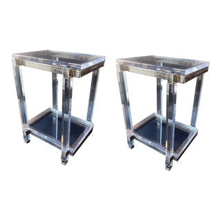 Lucite and Chrome Side Cocktail Tables, u.s.a. 1970s. - a Pair For Sale
