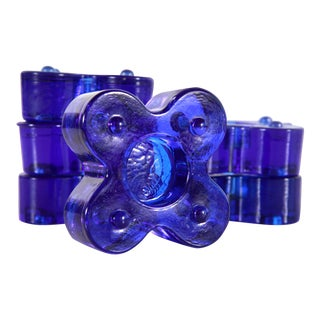 Mid Century Modern Blue Art Glass Stacking Tealight Candle Holders - Set of 6 For Sale