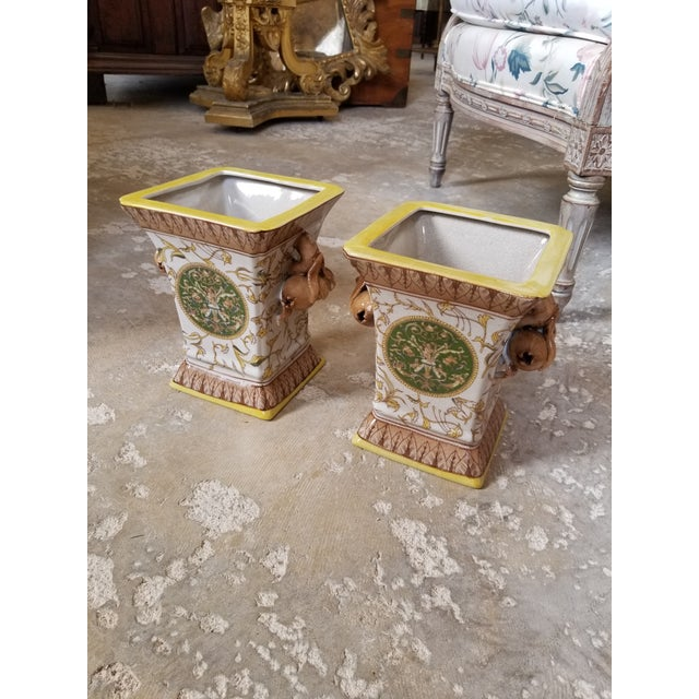 Ceramic Yellow and Brown Cache Pots - a Pair For Sale - Image 7 of 8