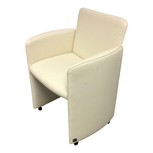 Ivory Leather Chair by Calia - Image 1 of 10