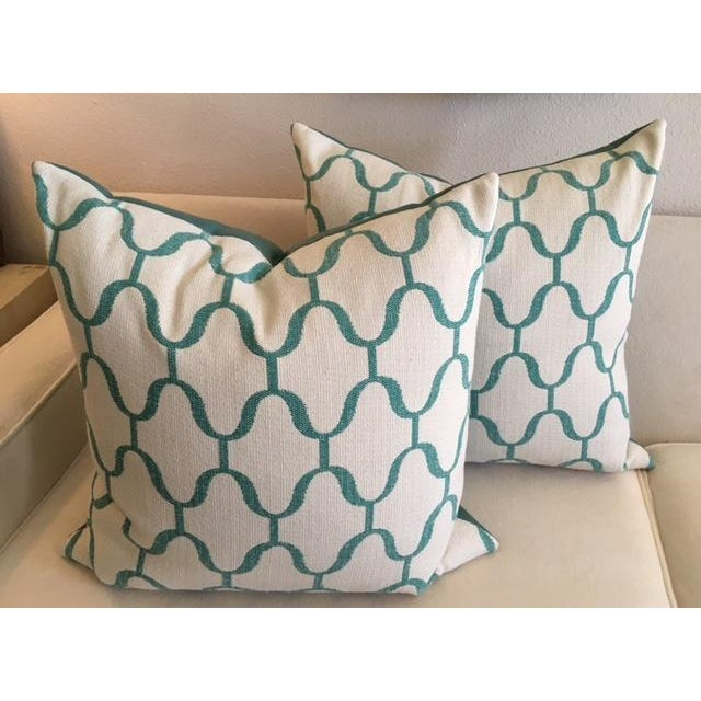 Custom Turquoise Moroccan Trellis Pillows - Pair - Image 2 of 5