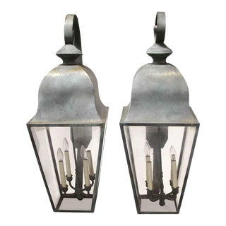Large Vintage Brass House Exterior Wall Sconces For Sale