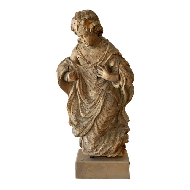 Antique Carved Architectural Figure For Sale
