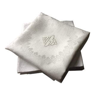 Antique French Double Damask Linen Napkins - Set of 6 For Sale