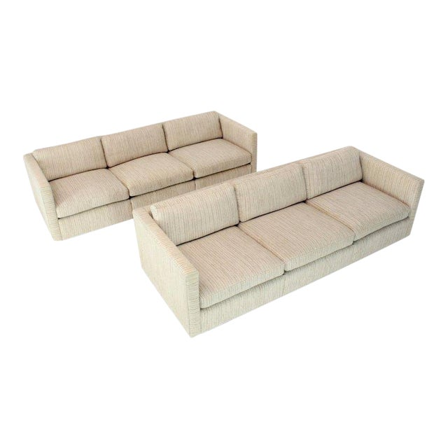 1970s Vintage Cream Wool Upholstery Box Shape Knoll Sofas Baughman Probber- a Pair For Sale