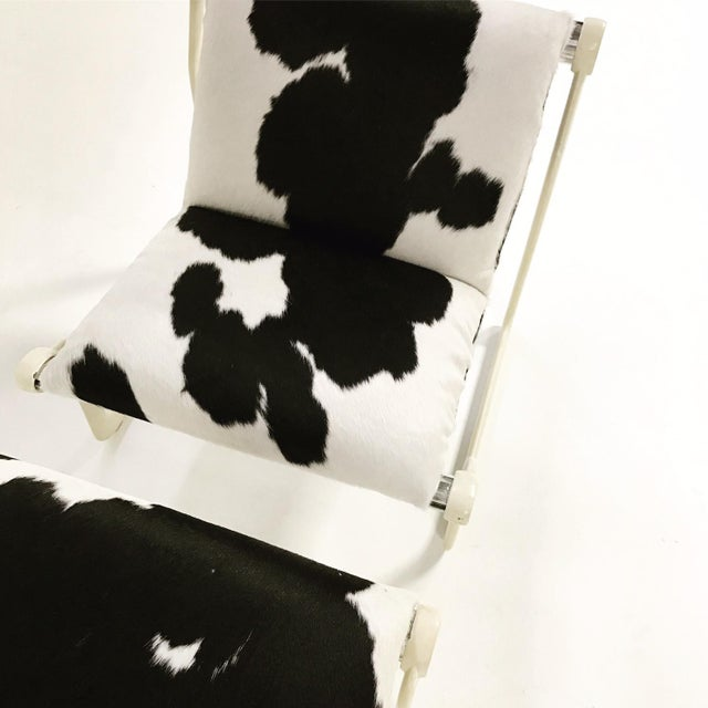 Forsyth One of a Kind Morrison & Hannah for Knoll Chair & Ottoman Restored in Black & White Brazilian Cowhide For Sale In Saint Louis - Image 6 of 11
