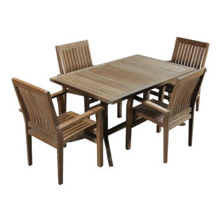 Traditional Teak Dining Set - 5 Pieces For Sale
