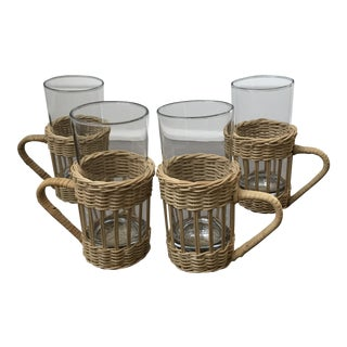 Vintage Wicker and Glass Tumblers - Set of 4 For Sale