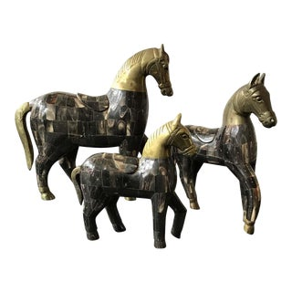 3 Horn and Brass Horses For Sale