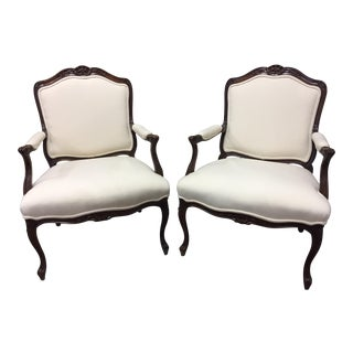 1980s Bergere Style Sherrill Arm Chairs - a Pair For Sale