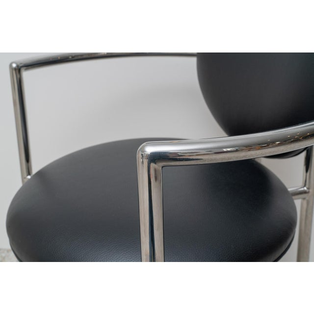 1980s Moon Chair in Black Leather and Chrome by Brueton For Sale - Image 10 of 12