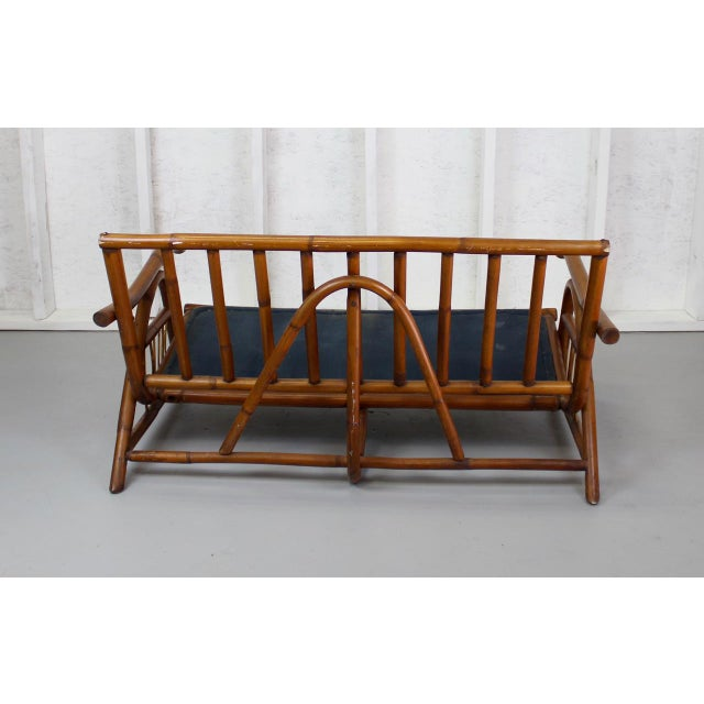Mid-Century Modern Asian-Inspired Vintage Rattan Loveseat 024d For Sale - Image 3 of 4