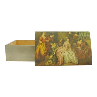 French Style Scenic Silver Gilt Dresser Box For Sale