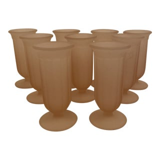 1940s Pink Frosted Juice Glasses - Set of 9 For Sale